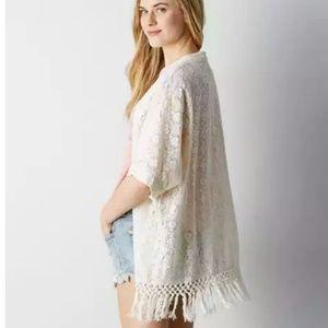 AEO Lace & Fringe Kimono